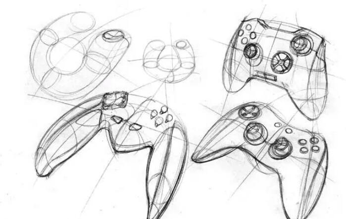 工业设计手绘教学,游戏手柄的手绘步骤介绍