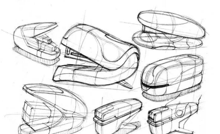 整体塑造该组产品的形体转折和体积感,明确各个产品体面上的分模线.