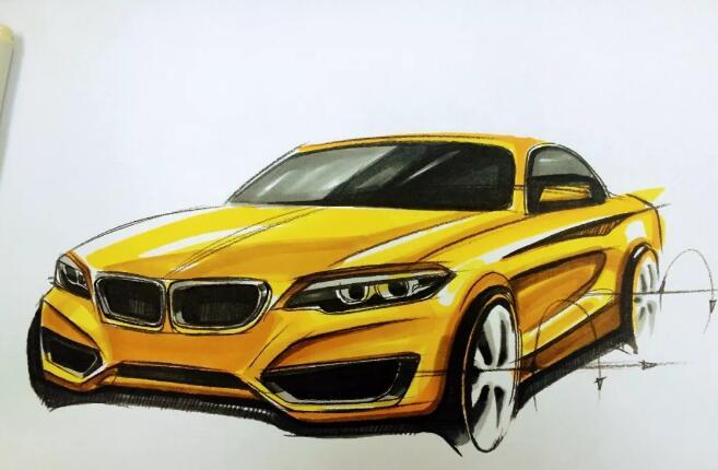 汽车手绘上色方法,宝马汽车手绘上色图文教程