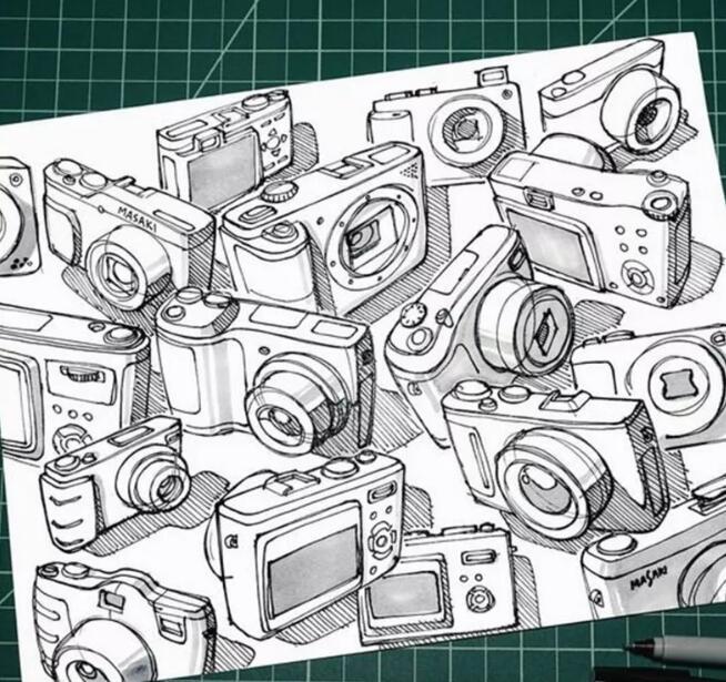 数码产品手绘图文教程,手把手教你如何画好相机